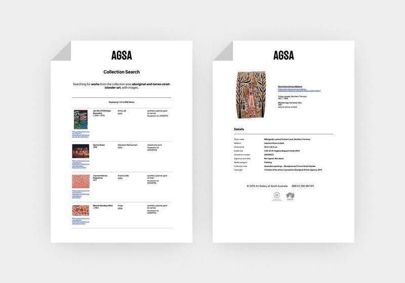 Printed versions of the AGSA Collection Search